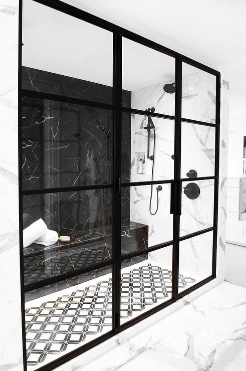 Polished Black Marble Shower Bench Contemporary Bathroom In 2020 White Marble Bathrooms Marble Showers Black Marble Bathroom