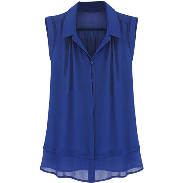 Womens Plain Turndown Collar Sleeveless Blouse Blue ($26) ❤ liked ...