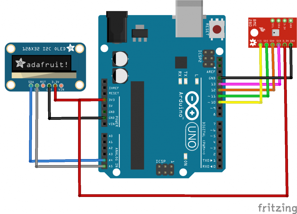 BME280 and OLED example | Circuit Diagrams | Arduino