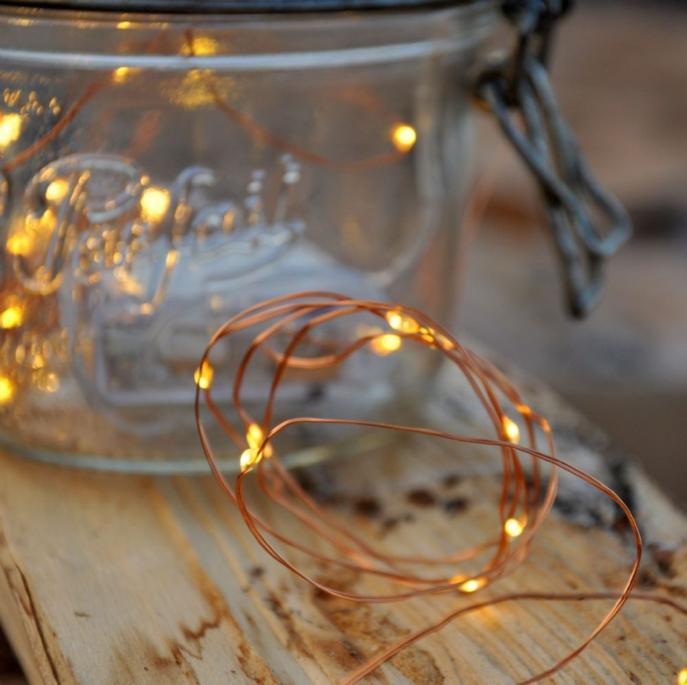 Vintage filament light Bulb - 40 Warm White LED Battery Fairy ...