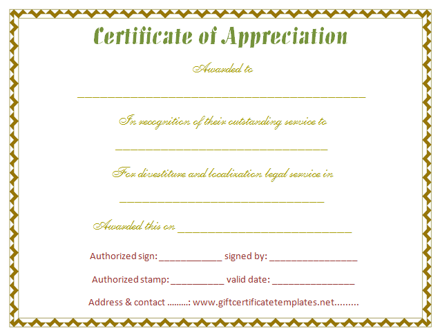 Stylish Certificate Of Appreciation Template Certificate Templates