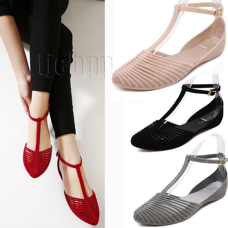 78c1fa7c657a9 Women Summer Beach Flat T-strap beach Jelly sandals Closed toe Ankle Strap  Shoes  Unbranded  TStrap