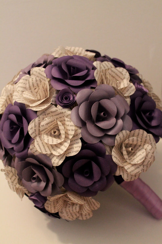 Book and card stock paper flower bouquet | Invitations & Flowers ...