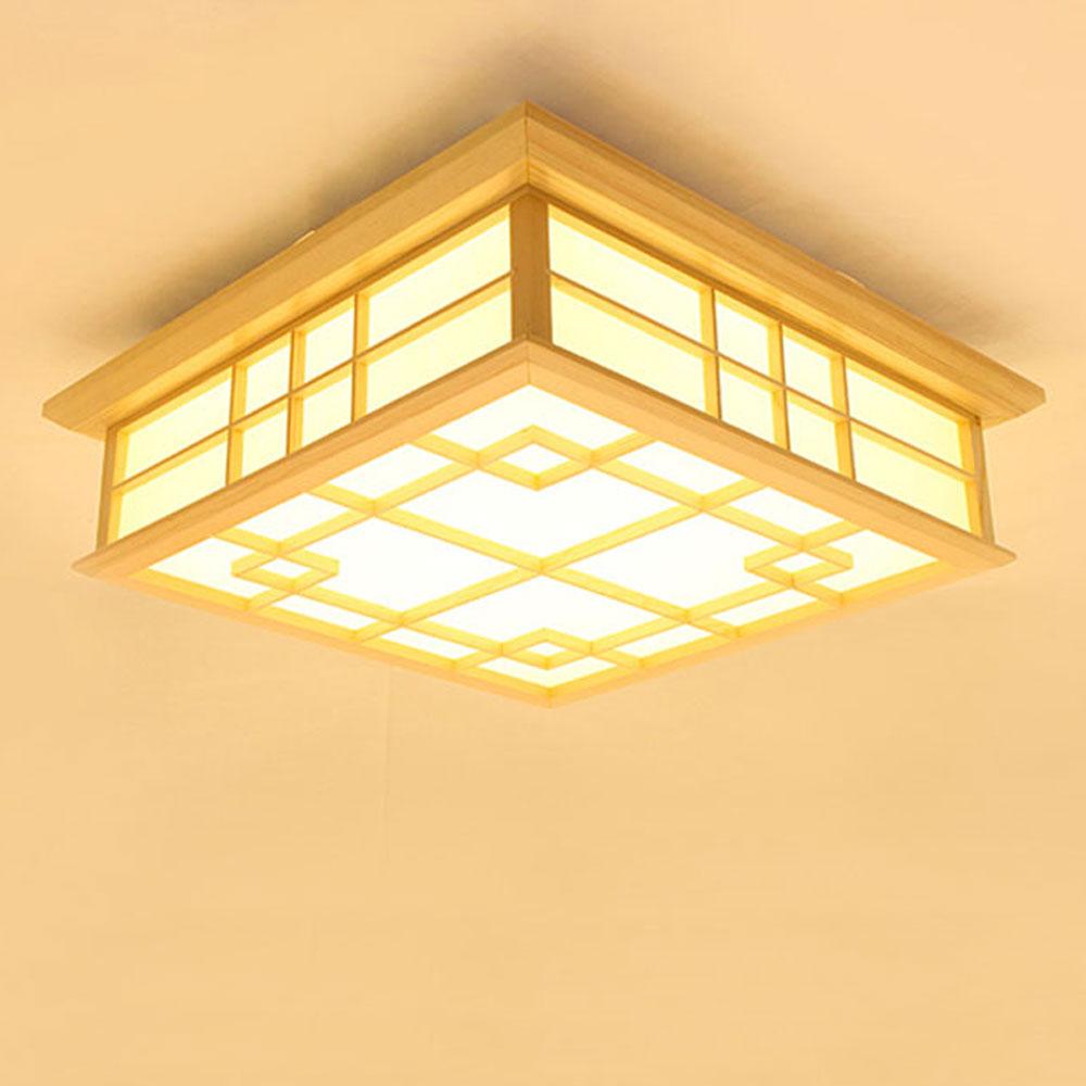 Deckenlampe led aus Holz eckig für Schlafzimmer (With