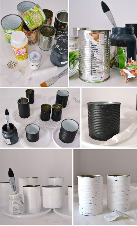 DIY Vintage French Recycled Tin Cans Project & Free Printable! #tincans