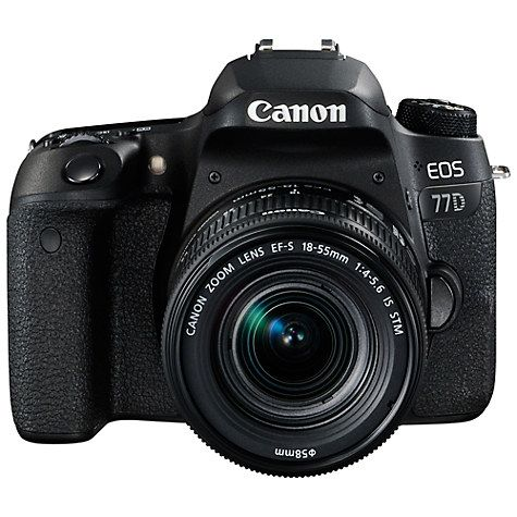 "Buy Canon EOS 77D Digital SLR Camera with EF-S 18-55mm IS STM Lens, HD 1080p, 24.2MP, Wi-Fi, Bluetooth, NFC, Optical Viewfinder, 3"" Vari-Angle Touch Screen Online at johnlewis.com"