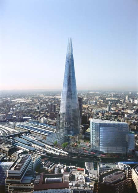 The Shard reaches a height of 306 metres (1,016 feet) with a total 72 occupied floors reaching skyward into a 15 story spire.