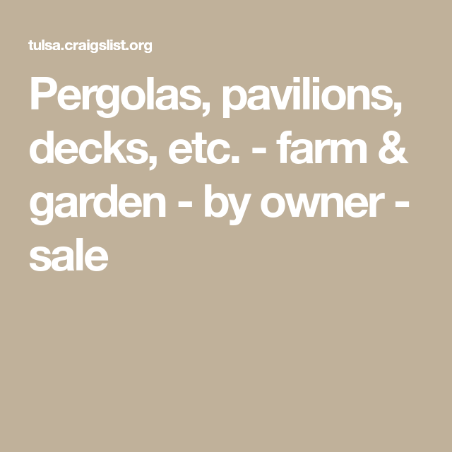 Tulsa Craigslist Farm And Garden - DECRAIGS