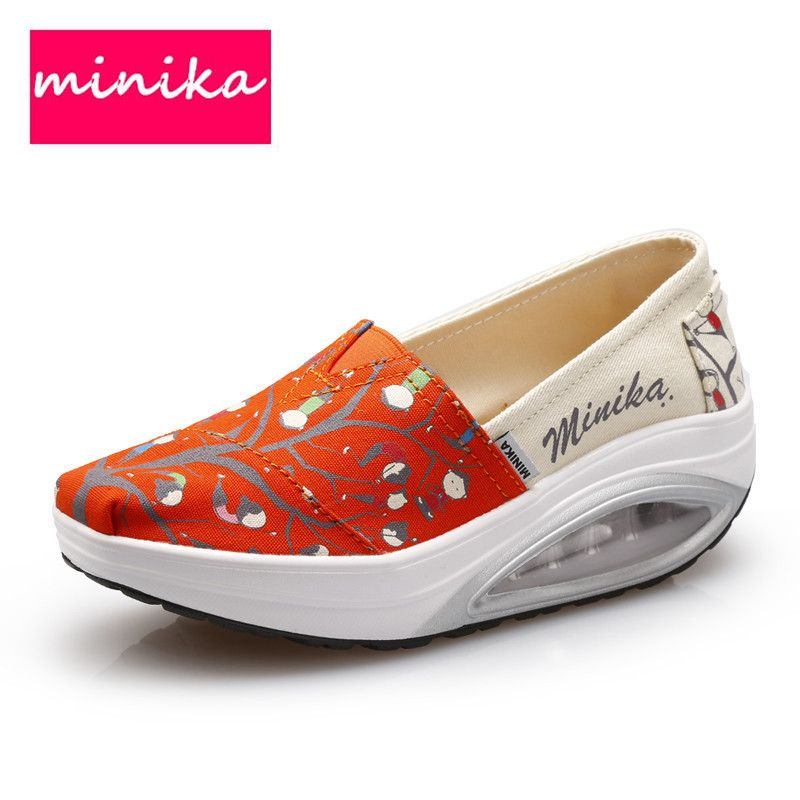 Minika New spring autumn platform casual shoes floral canvas shoes for  women wedge fitness slimming swing