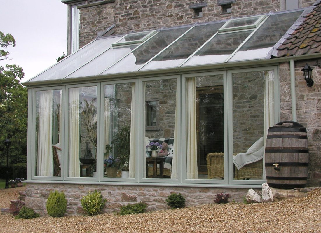Galleries completed lean to conservatories hardwood for Garden room lean to