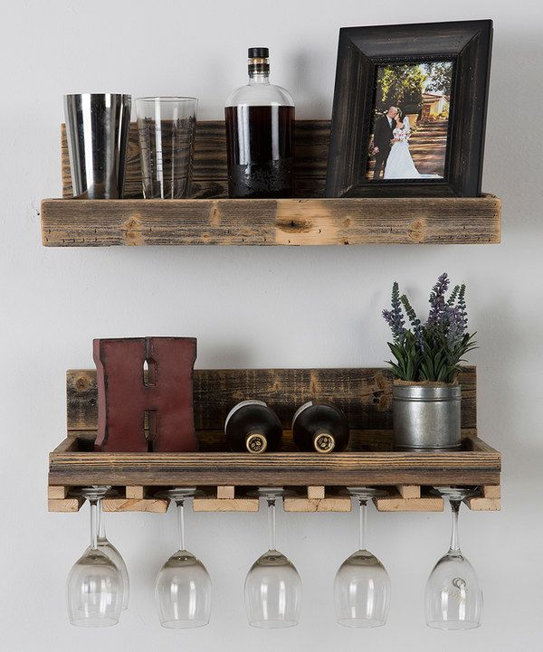 Take a look at this Reclaimed Wood Floating Wine Rack Set on zulily today!