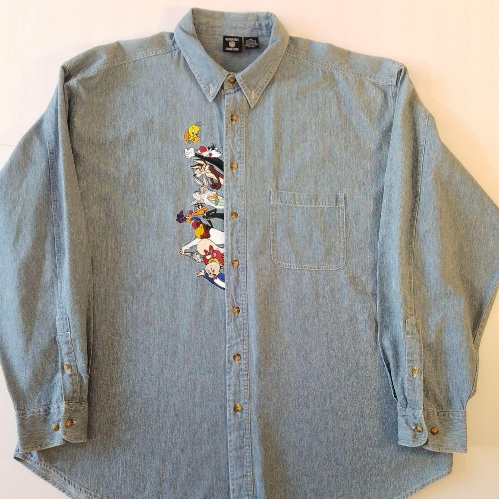 c00181cf58 Warner Bros Studio Store Mens Denim Shirt Size XXL Looney Toons Button Down  2XL  WarnerBros  ButtonFront