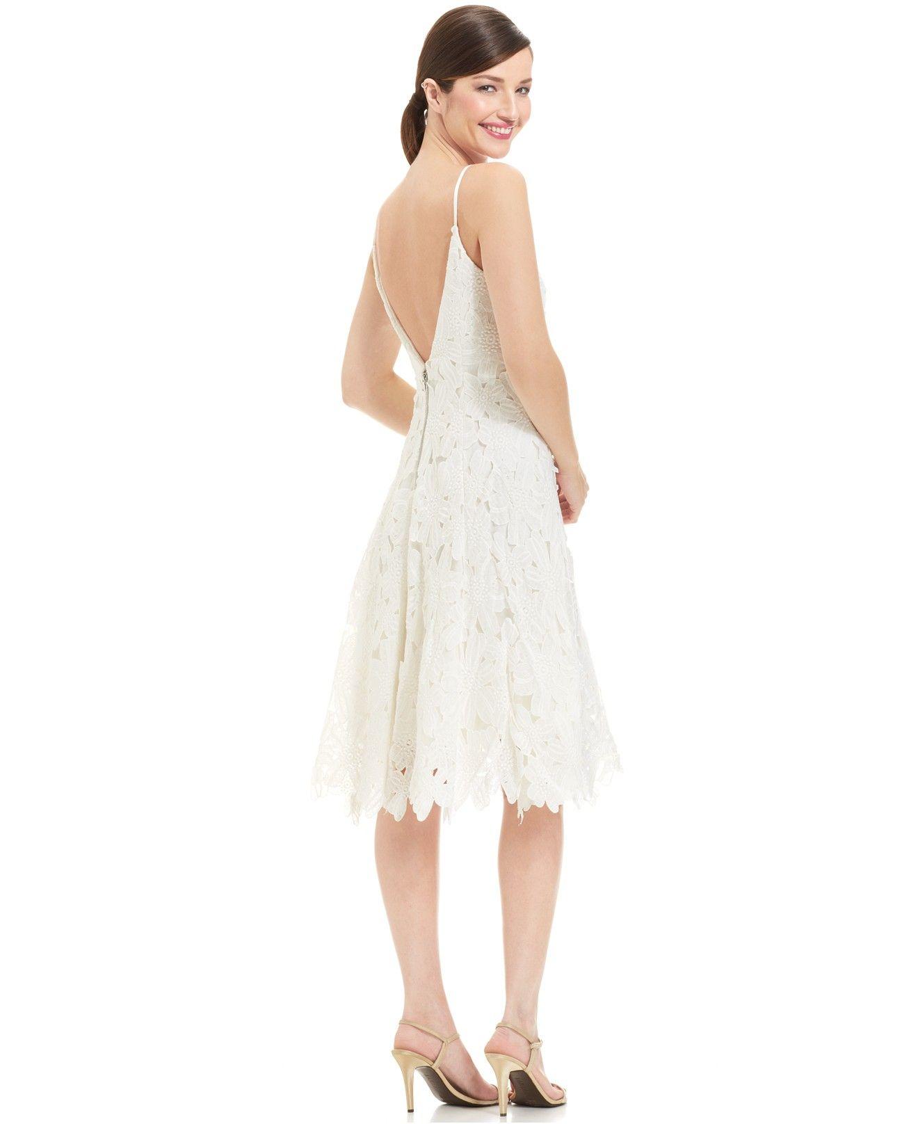 Lace dress macys  Vera Wang Sleeveless CrochetLace Scalloped Dress  Macyus  my