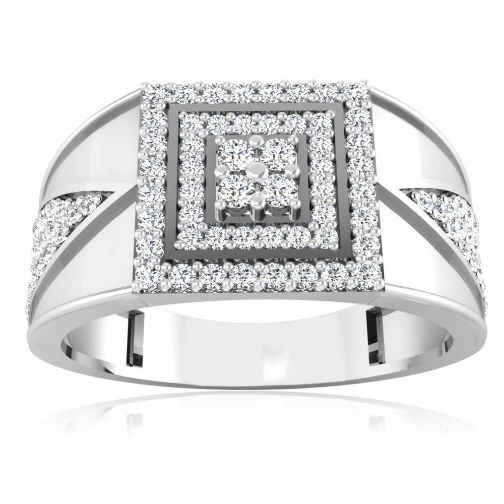 Natural 0 43 Ct Round Diamond Ring 14k White Gold Men S Wedding