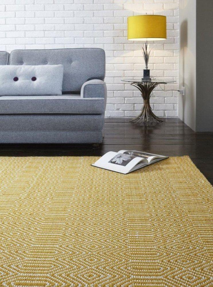 Moderner Designer Teppich Sloan Rug Mustard Gelb Baumwolle Wolle