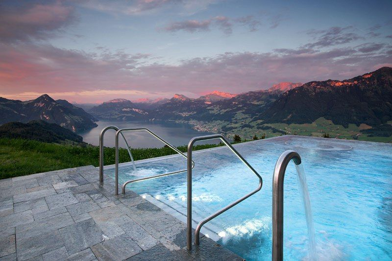 Best Hotel In Switzerland With Infinity Pool People Are Calling This Rooftop Infinity Pool In The Swiss Alps The Stairway To Heaven Hotel Villa Honegg Villa Honegg Hotel Villa Honegg Switzerland