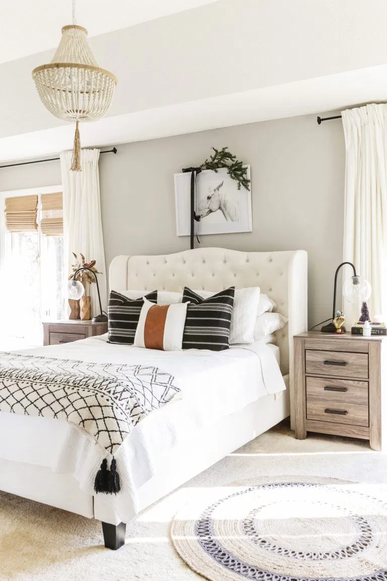Boho Farmhouse Christmas Home Tour Minimalist Holiday Decorating Ideas In 2020 Modern Rustic Master Bedroom Rustic Master Bedroom Design Rustic Master Bedroom