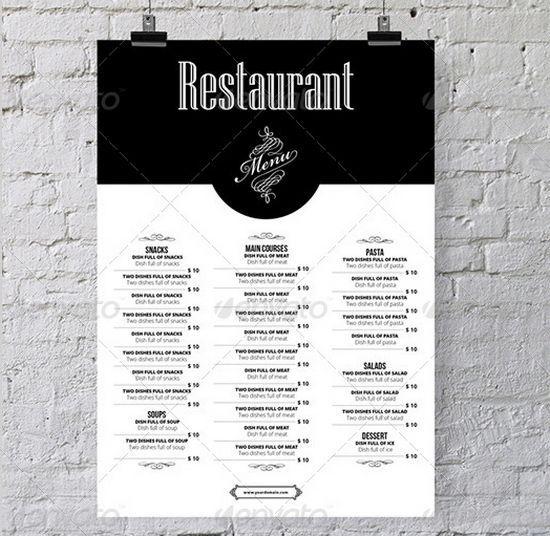 30 Food Restaurant Menu Brochure Template Designs Pixaza Menu Design Restaurant Menu Design Menu Restaurant