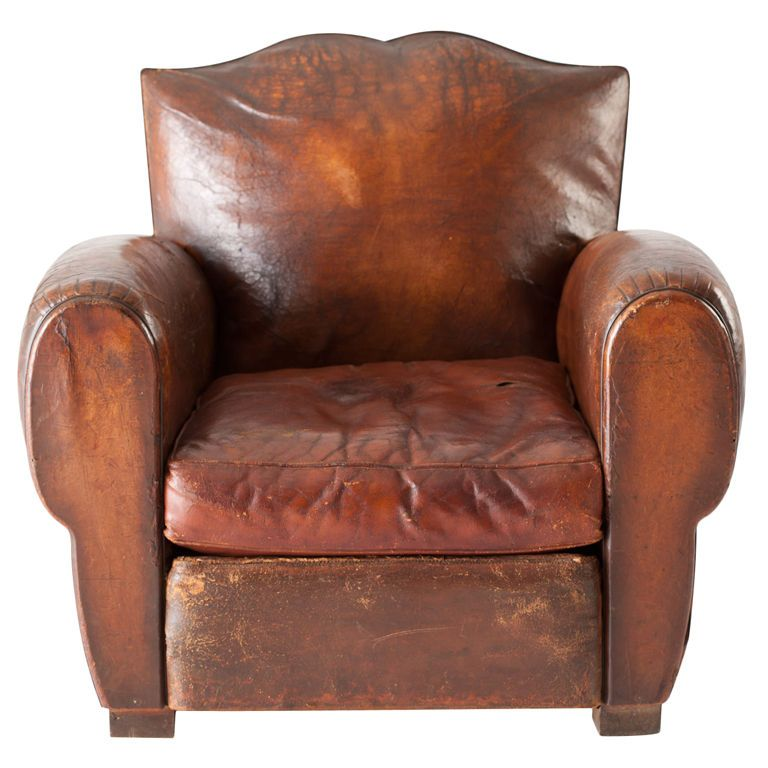 Leather Club Chair France C 1930 Red