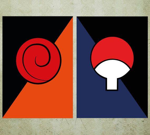 Naruto Poster Uzumaki Uchiha Clan Symbols Minimalist Print