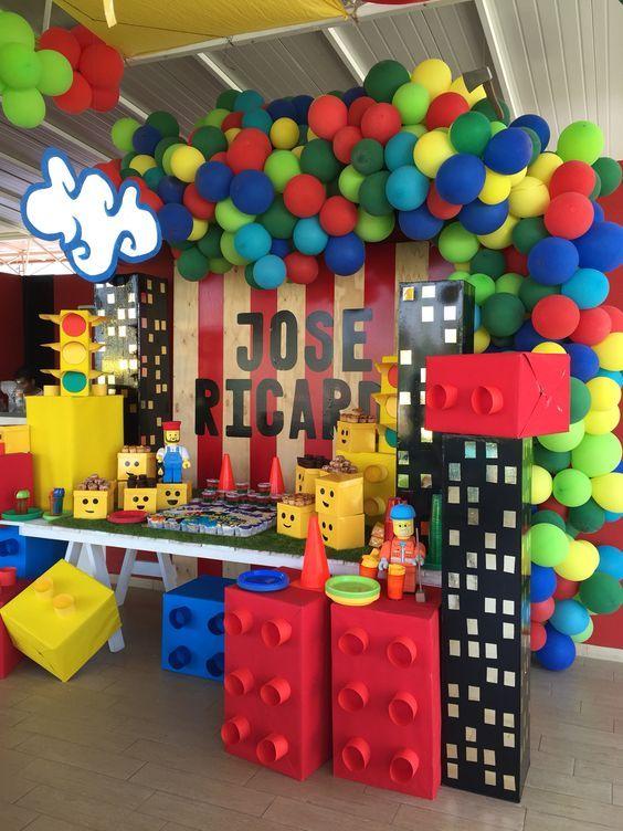 Decoracion fiesta infantil de lego para ni os ideas for Decoraciones infantiles para ninos