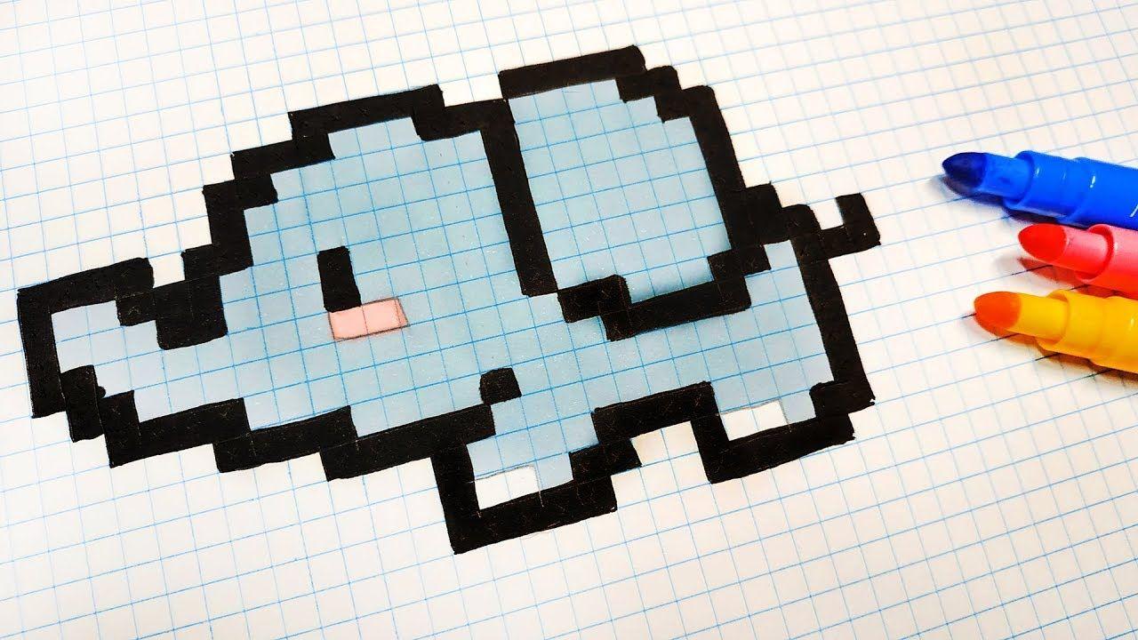 Pixel Art Hecho A Mano Cómo Dibujar Un Elefante Kawaii