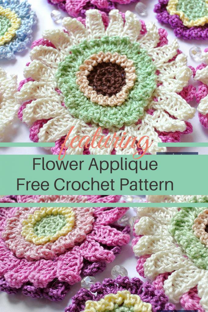 Beautiful Crochet Flower Applique Pattern Free Pattern Pinterest