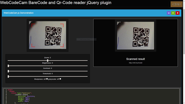WebCodeCam is a jQuery plugin for barcode and qr-code