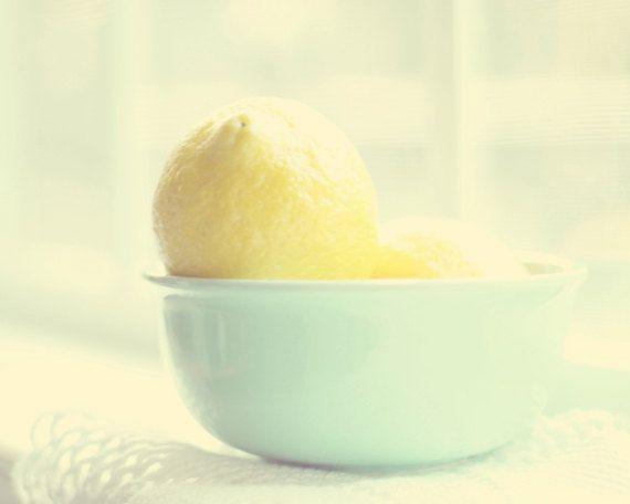 food photography yellow art lemons pale aqua blue kitchen decor wall ...