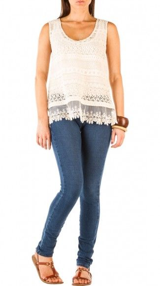 crochet and lace top.  on sale for $49