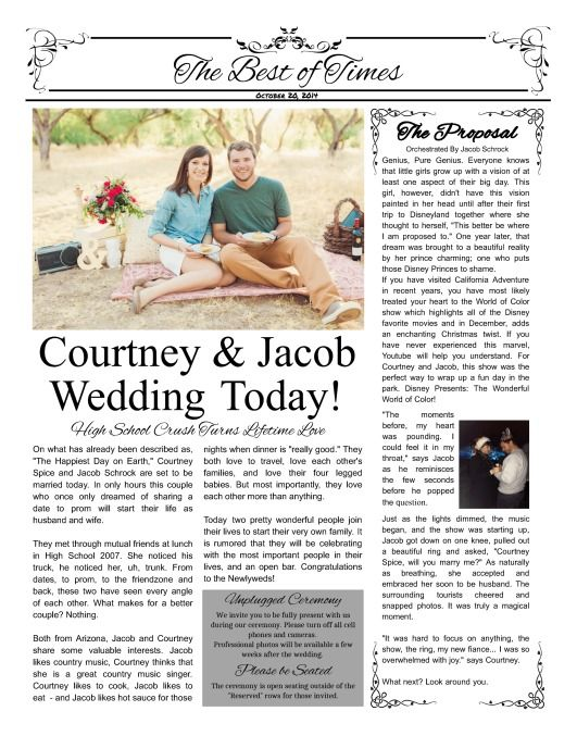 courtney and jacob wedding program