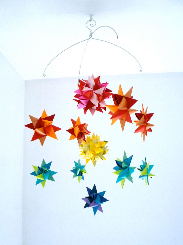 Baby Crib Mobile Hanging Origami Stars Ursa Major Spheres Rainbow 4800 Via Etsy