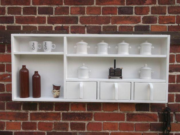 Holzregal,Küchenregal, 3 Schübe,weiß - küchenregal mit beleuchtung