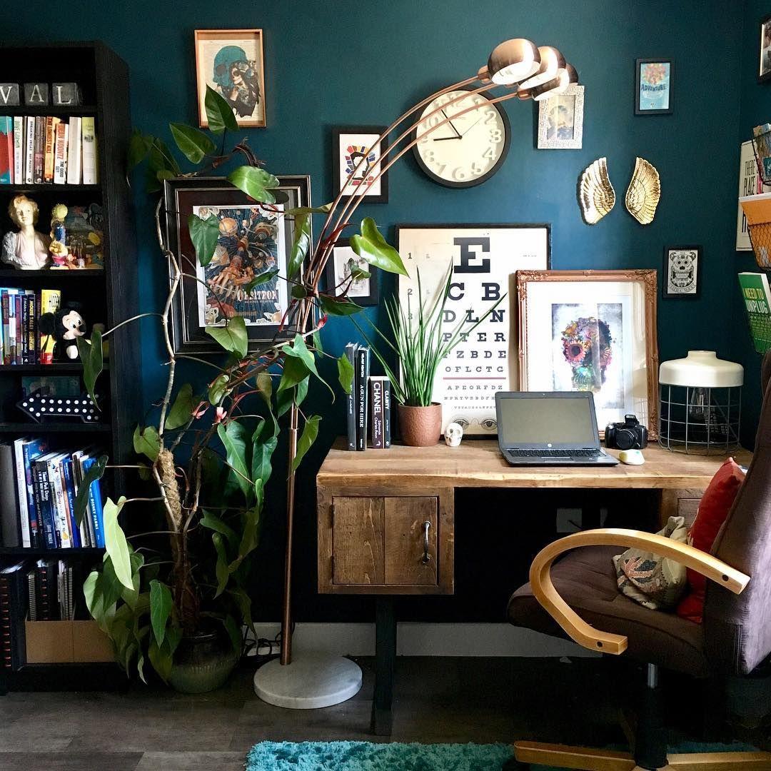 Dark Green Walls And Beautiful Oak Furniture With A