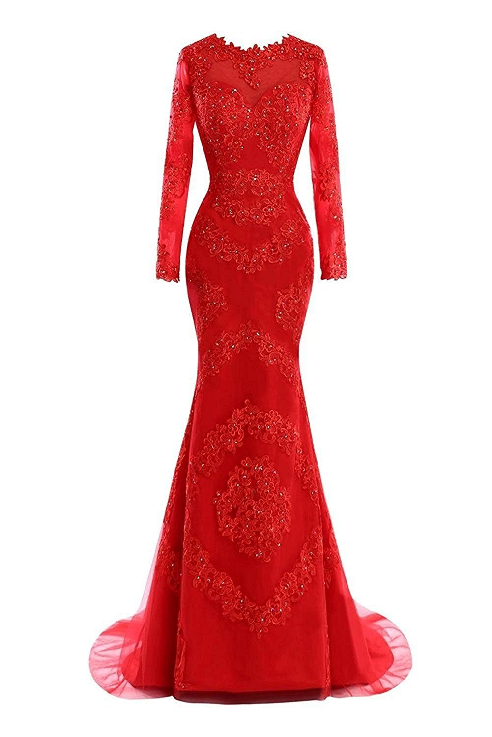 Trumpet/Mermaid Scoop Neck Tulle Appliques Lace Sweep Train Red Long Sleeve  Classic Prom Dresses in UK