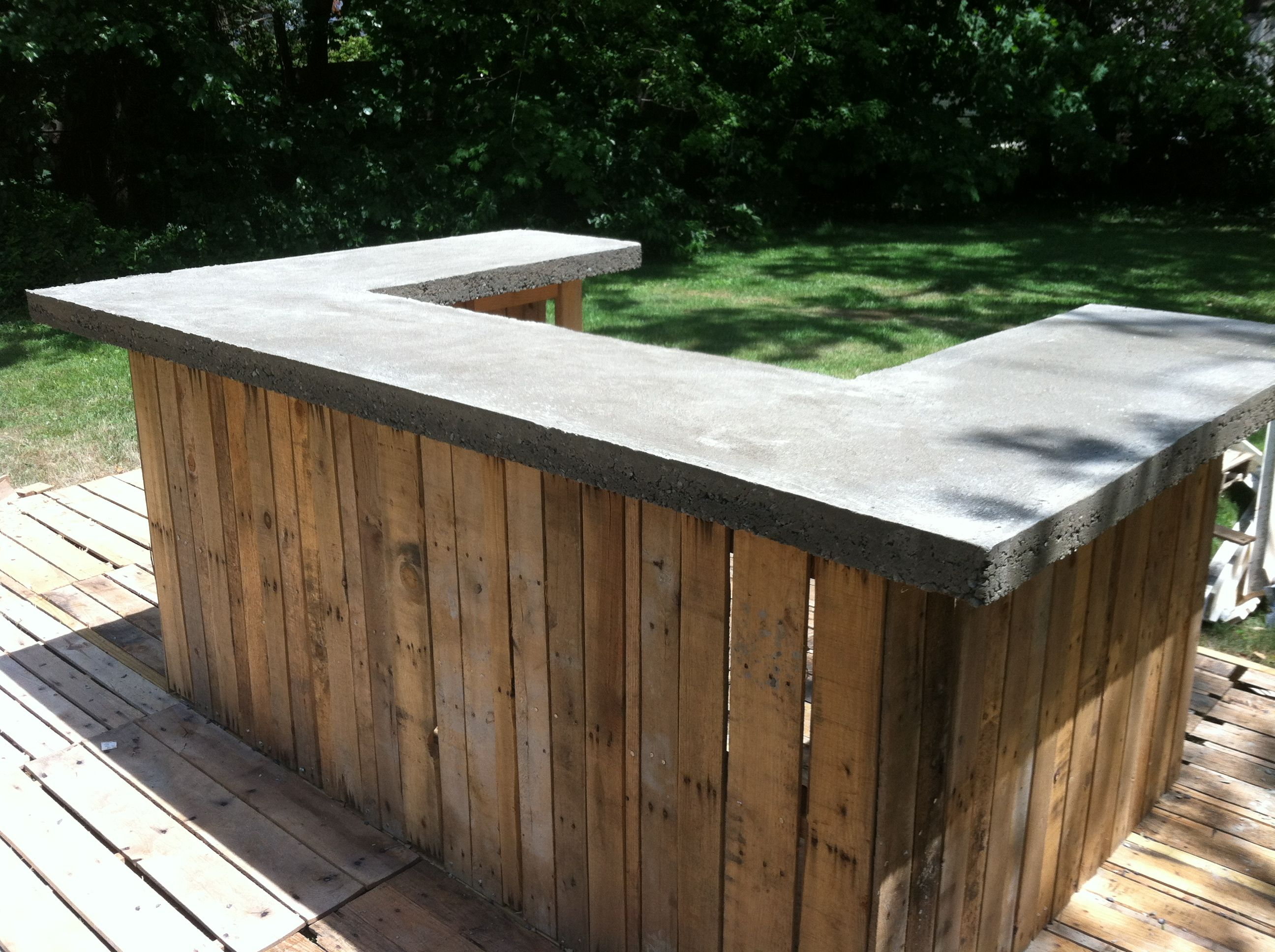 Concrete bar top on my outdoor bar the shack pinterest for Wood outdoor bar ideas
