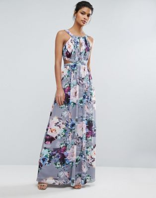 Little Mistress Printed Maxi Dress With Cut Outs