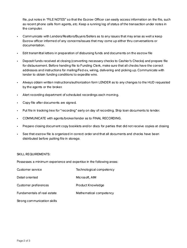 escrow assistant job description http resumesdesign com escrow