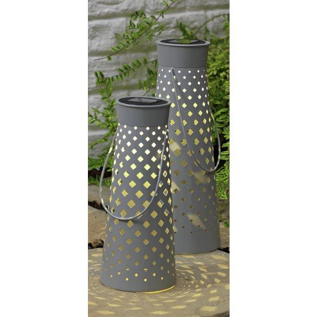 Buy Argos Home Set Of 2 Grey Metal Lanterns Outdoor Wall Lights And Lanterns Argos Metal Lanterns Outdoor Wall Lights Argos Home