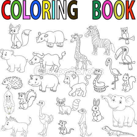 Ilustración Vectorial De Dibujos Animados Animales Salvajes