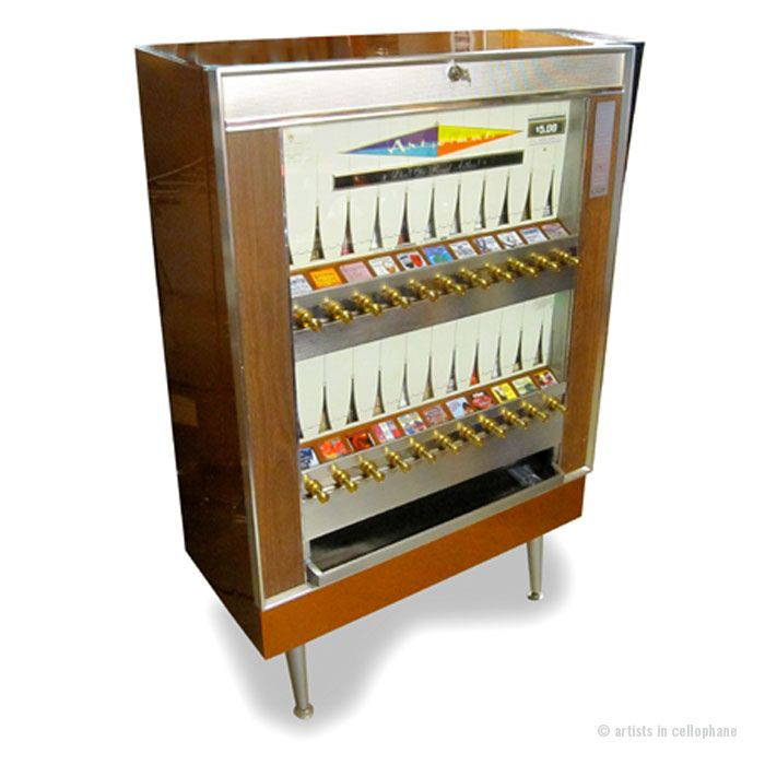 This is a vintage cigarette machine that dispenses works of