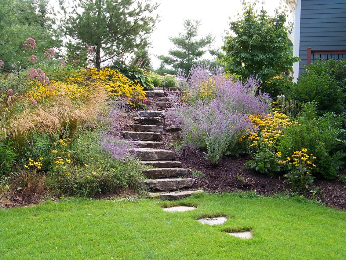 Landscaping On A Slope Ideas (I Like How There Are A Few Steps That Extend  Pastu2026   My Gardening Today