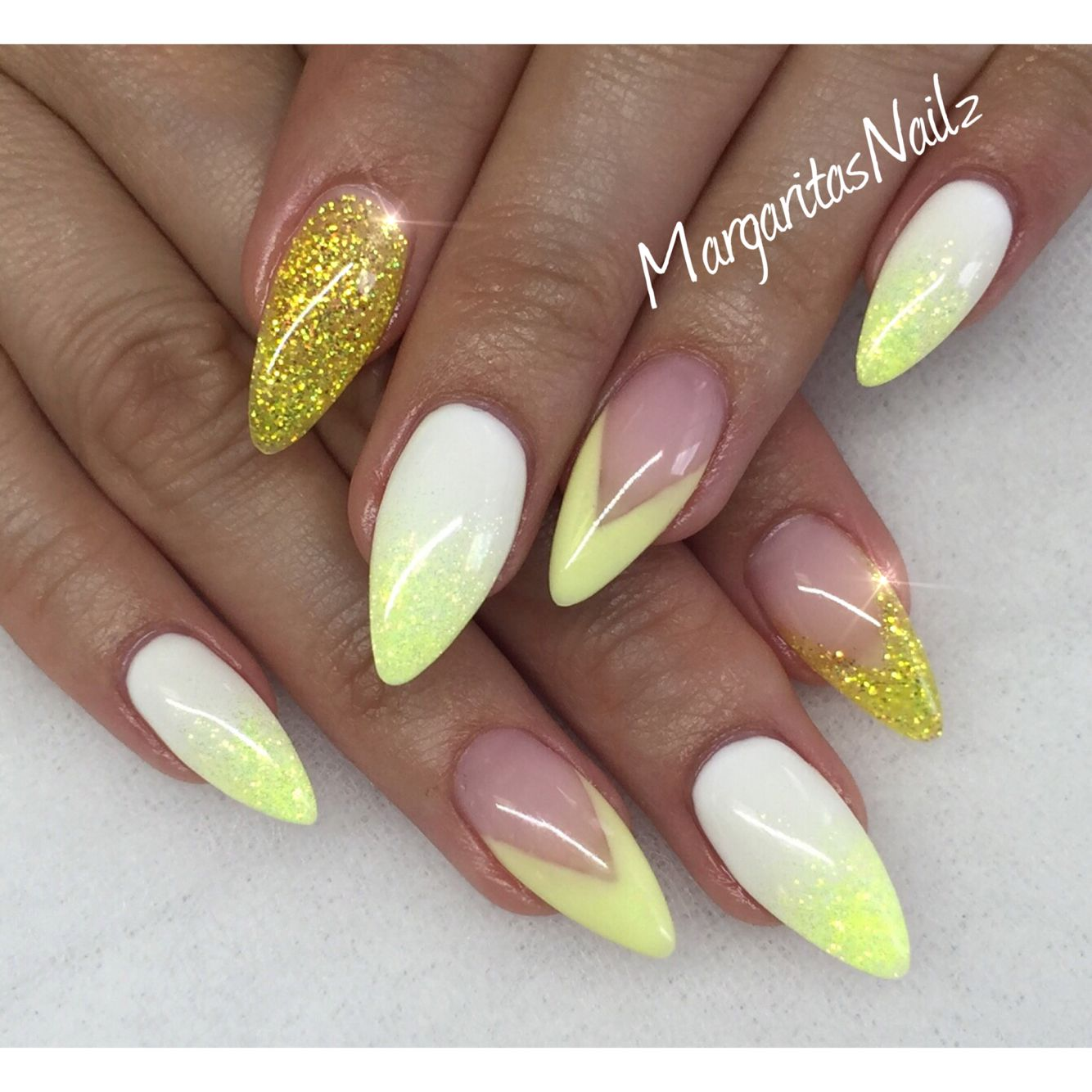 Yellow And White Almond Nails Spring Nail Art Gel Nail Art Yellow Nail Art Spring Nail Art