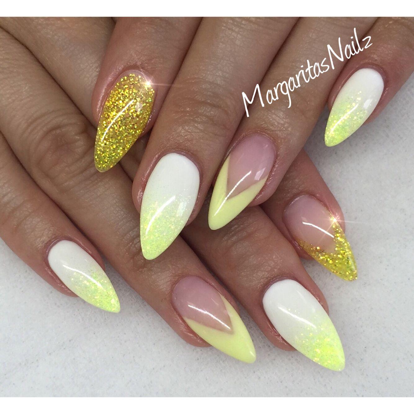 Yellow And White Almond Nails Spring Nail Art Margaritasnailz Acrylic