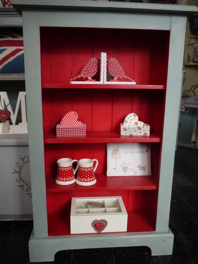 Painted Bookcase in Polar Blue and Library Red chalk paint http://www. - Painted Bookcase In Polar Blue And Library Red Chalk Paint Http
