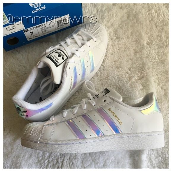 ADIDAS Superstars Iridescent Holographic Stripe New adidas superstars girls  grade school trainers in iridescent stripes.