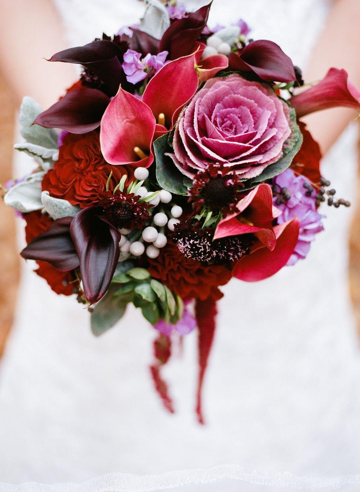 Dramatic mini calla, rose, and kale bouquet in eggplant and crimson ...
