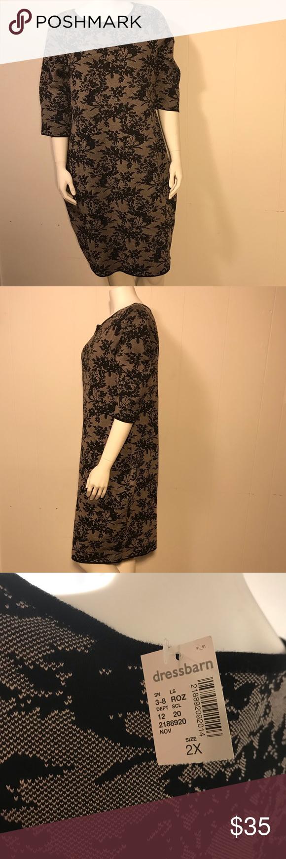 Nwt Roz Ali Long Sleeve Dress 2x Beautiful Faux Lace Dress Long Sleeve Poly Rayon Blend Tan Black Lacy Floral Pattern Si Dresses 2x Clothes Design Roz Ali [ 1740 x 580 Pixel ]