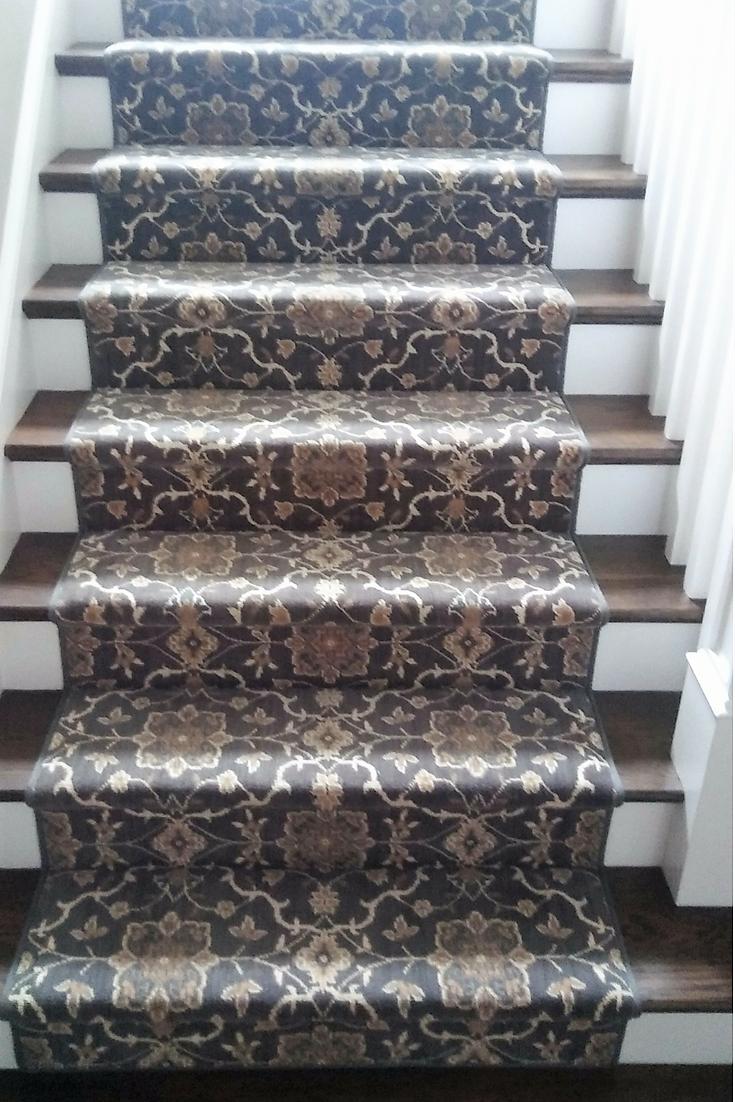 Fine Wool Oriental Patterned Carpet Stair Runner In Shades Of Grey