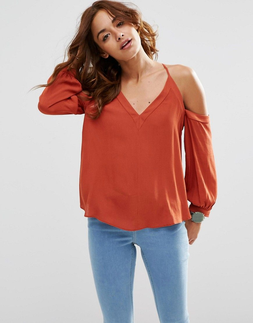 DESIGN Swing Top With Ruffle Shoulder - Rust Asos Sale 2018 Newest lAvHlGs0i1
